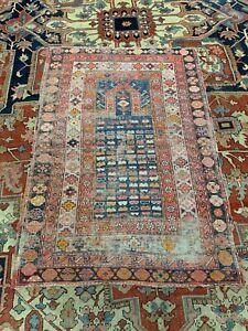Handmade antique Caucasian Shirvan prayer rug 3.4' x 4.9' 1880s - 1N02