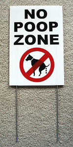 """NO DOG POOP ZONE Vertical 8""""X12"""" Plastic Coroplast Sign with Stake 25% off 3!"""