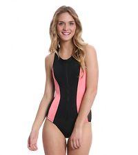 Hurley Good Sport front Zip Up One Piece racerback Swimsuit black pink medium m