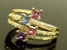 R176 Genuine 9ct SOLID Gold NATURAL Multi-Gem & DIAMOND Colorful Spray Ring sz O
