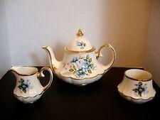 VINTAGE ENGLISH SADLER TEA POT, SUGAR & CREAMER w/ Gold Trim ~ BELL SHAPE