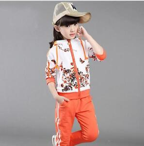 Kids Girls Clothes Jacket Pants Girl Long Sleeve Tracksuit Sport Suit Size 8.9Y
