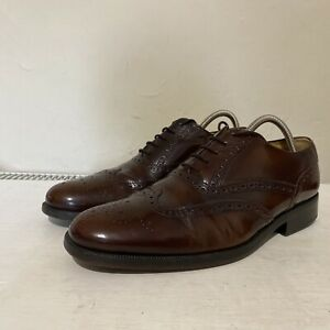 Mens Clarks Chestnut Dark Brown Leather Brogues Lace Up Shoes UK 10 G