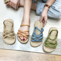 Women's Casual Straw Hemp Rope Sandals Flat Slippers Comfortable Beach Shoes U42