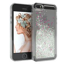 Für Apple iPhone 5 5S SE Glitzer Hülle Flüssig Silikon Case Handy Cover Silber