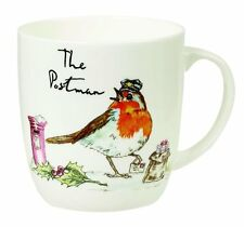 Queens COUNTRY PURSUITS The POSTMAN MUG Robin Bird - Bone China Olive 300ml