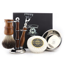 Wooden Handle Shaving Razor Brush and Stand with Stainless Steel Bowl Shave Soap
