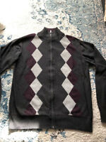 Checkered Grey Plum Men's Dockers Sweater Full Zip M Slim Fit Medium