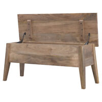 Rustic Scandinavian Style Solid Oak Colour Wood Storage Bench Box Seat with Lid