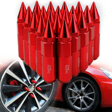 RED 20PCS CNC M12X1.5 60mm Lug Nuts Cap Spiked Extended Tuner Aluminum Wheel Rim