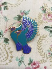 Laurel Burch Enamel Hummingbirds Teal Winged Birds Brooch