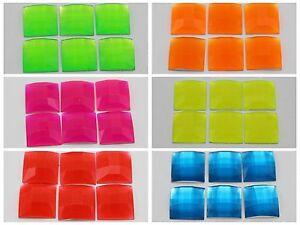 50 Neon Color Flatback Acrylic Square Rhinestone Gems 14X14mm Pick Your Color