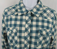 BIT & BRIDLE Womens Country Western Horseshoe Pearl Snap Sz M Green Plaid Shirt