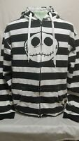 Nightmare before Christmas Black And White Striped Hoodie Sweater Mens Size XL