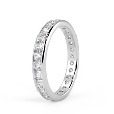 Certified 1.50ct Round Diamond Channel Set Full Eternity Ring in Platinum