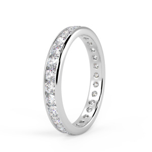 LAST pcs 1.00ct Round Diamond Channel Set Full Eternity Ring in White Gold