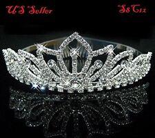 Bridal Princess Crystal Hair Tiara Wedding Crown Veil Headband Birthday S8C12