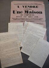 Montfort-l'Amaury. 6 lettres signed Duke of Chambors 1815 +Sale Home Bel-Air