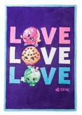 Shopkins SPK Kids Girls LOVE Purple/ Blue Sherpa Blanket Super Soft