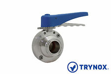 1.5'' Sanitary Butterfly Valve Clamp Ends EPDM Seal 304 Stainless Steel Trynox