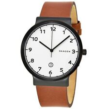 Skagen SKW6297 Men's Ancher Brown Leather Band White Numbers Dial Date Watch
