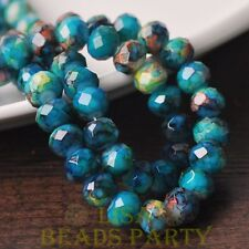New 20pcs 10mm Glass With Color Coated Rondelle Loose Colorful Beads Lake Blue
