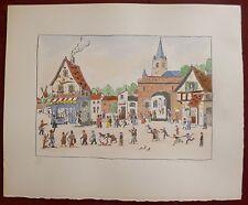 Jean Fous Lithographie et aquarelle signée art naïf le village la fête l'auberge