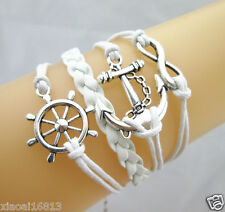 Pretty Anchor/Infinity/Rudder Helm Sailor Charms Leather Braided Bracelet White