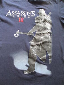 Assassin's Creed III 3  Navy Blue White Red T Shirt Size S Small