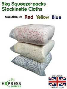 5kg Squeeze-Pack Bags Stockinette Cloths Car Polishing Rags Red Yellow Blue