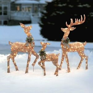 Set of 3 Light-up Rattan-Look Reindeer Family Incandescent Christmas Lights Lit