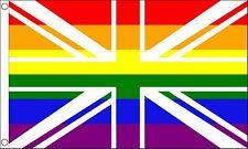 UNION JACK RAINBOW GAY PRIDE RIGHTS flag 5X3 LGBT Britain UK