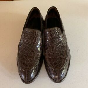 Mens Loafer Dress Shoes Brown Alligator Leather Split Toe Apron Slip On 7.5