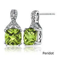 Natural 2ct Green Apple Peridot 18K White Gold Plated Emerald Cut Earrings 7mm