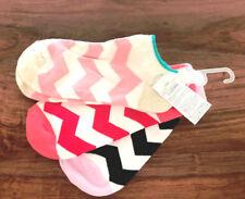 Gap Women Ankle Socks Pack of 3 Pink Red Blue Chevron Print Cotton Heel Grip New