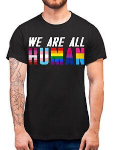 We Are All Human Gay Pride T Shirt Proud LGBT Gift Man Woman Transgender Bi Homo