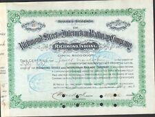 Richmond Street and Interurban Railway Company 50 Shares 100$ aus 1902 SELTEN