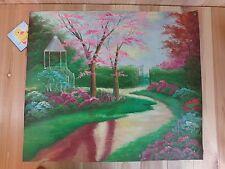 "Original Oil Painting 27"" x 23"" Canvas GARDEN PATH Gazebo Art School OOAK"