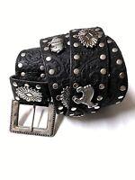 """Men's Punk Genuine Leather Belts Rock Skull Cross Black Waist Strap belt Sz 43"""""""