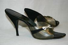 Sz 9.5 S Very NARROW  Vtg 50s Spike Heels Shoe Rhinestone Bow Springolators