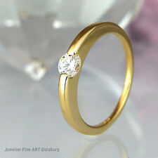 Ring 750/- Gelbgold - 1 Diamant 0,32 ct. Top Wesselton/Lupenrein Top Zustand