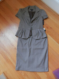 NWT BCX Skirt Suit Stretch Junior Brown Pinstriped 9