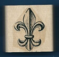 FLEUR-DE-LIS Paisley Elegant Design team logo Stampin' Up! wood RUBBER STAMP