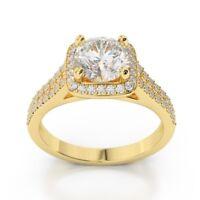 1.68 Ct Round Diamond Engagement Wedding Ring 9k Yellow Gold Size J K L M N