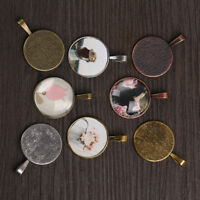 Round Necklace Component  Jewelry Making Pendant Base Glass Cabochon Cameo Tray