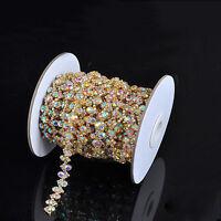 1 Yd AB Gold Rhinestone Crystal Chain Applique Trim Costume Wedding Dress Belt