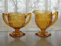 Indiana Glass Amber Daisy #620 Sandwich Footed Creamer & Open Sugar Bowl
