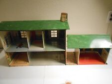 Vintage Marx Tin Litho 2 Story Doll House/Game Room/Breezeway, and Furniture