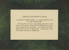 VINTAGE RECIPE CARD CABBAGE PEANUT CELERY SALAD NEW PASTEL BORDER ART PRINT