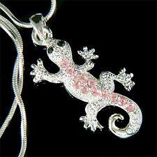 w Swarovski Crystal ~Pink Lizard REPTILE Salamander Gecko Charm Necklace Jewelry